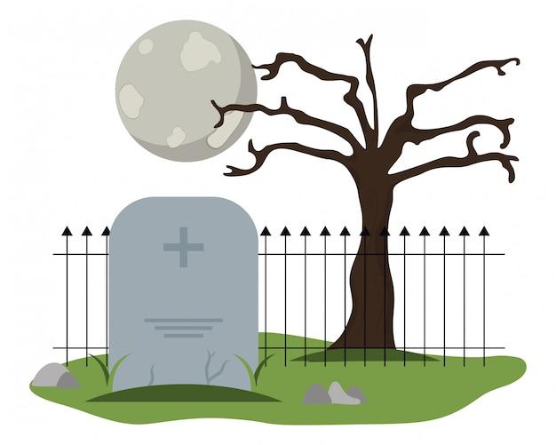 Cimetière de pierre tombale avec la pleine lune