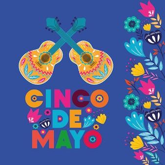 Cinco de mayo carte avec des guitares et des fleurs