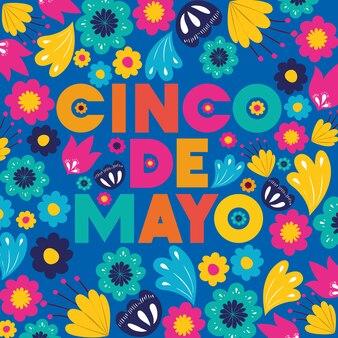 Cinco de mayo carte avec motif floral