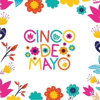 Cinco de mayo avec carte de poivrons