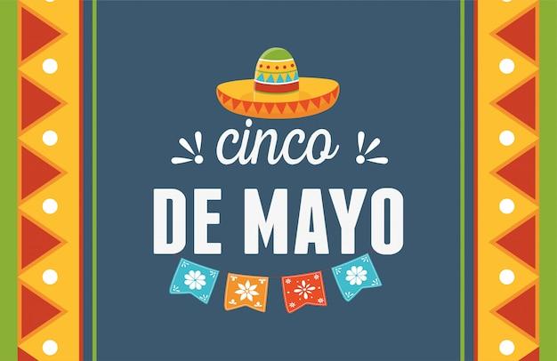 Cinco de mayo chapeau fanions décoration mexicain célébration carte