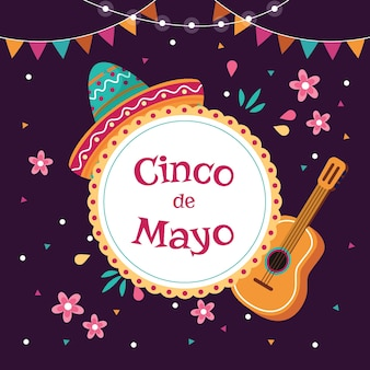 Cinco de mayo avec chapeau et guitare