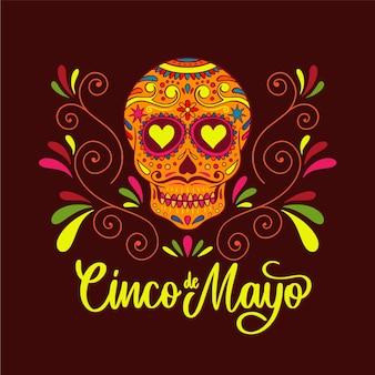 Cinco de mayo avec crâne et fleurs
