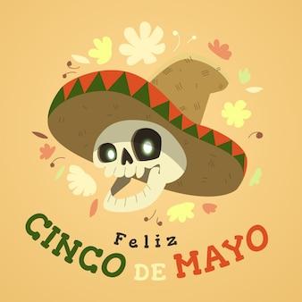 Cinco de mayo avec crâne portant chapeau