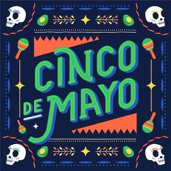 Cinco de mayo avec des crânes et des maracas