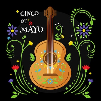 Cinco de mayo avec fleurs et guitare