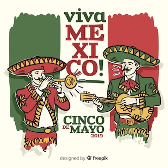 Cinco de mayo fond dessiné à la main