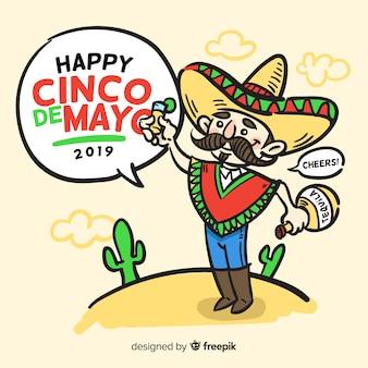 Cinco de mayo fond dessiné à la main