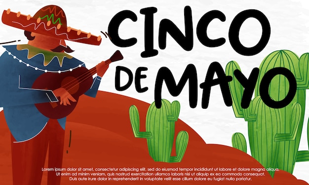 Cinco de mayo illustration aquarelle