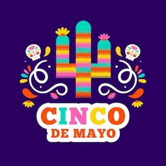 Cinco de mayo illustré cactus avec lettrage