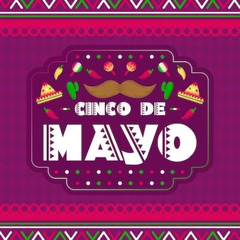 Cinco de mayo avec moustache et maracas