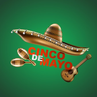 Cinco de mayo vacances mexicaines sombrero chapeau maracas et tacos et illustration vectorielle de nourriture festive