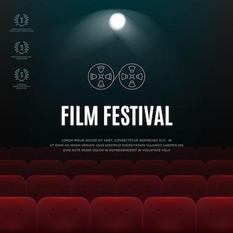 Cinéma, affiche abstraite de vecteur de festival de film, fond