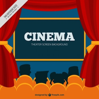Cinema background avec les gens silhouettes