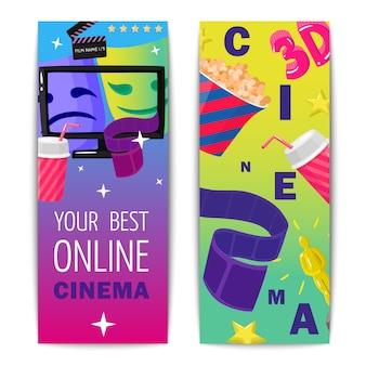 Cinéma deux bannières verticales isolées