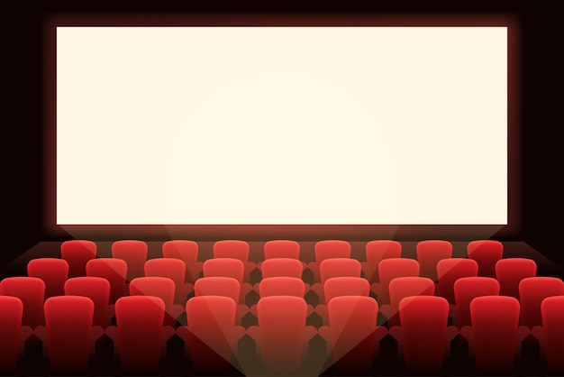 Cinéma avec écran blanc. présentation de théâtre et de spectacle, représentation et salle, divertissement et auditorium.