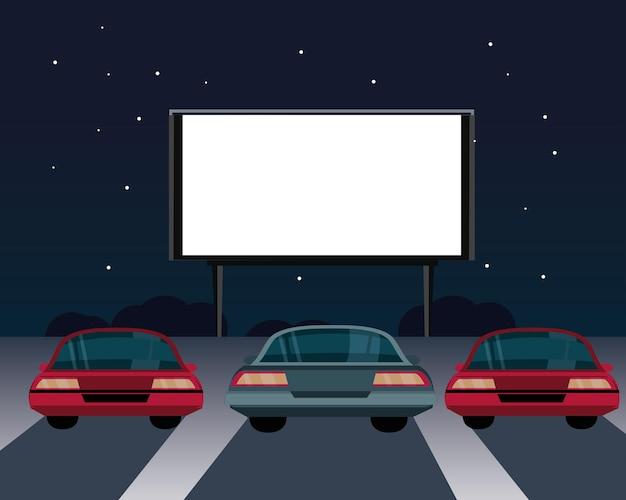 Cinéma d'été avec des voitures