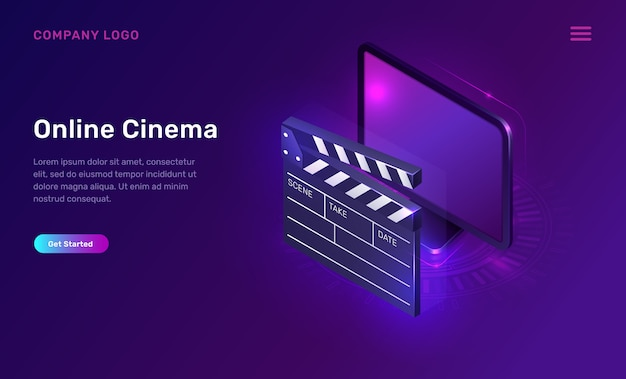 Cinéma ou film en ligne, concept isométrique
