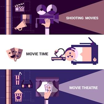Cinéma horizontal et bannières du théâtre moive