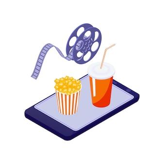 Cinéma en ligne isométrique avec un téléphone mobile, un seau de pop-corn et une illustration de boisson
