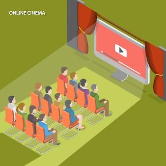 Cinéma en ligne plat isométrique