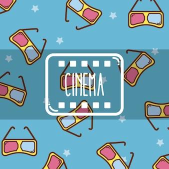 Cinéma mignons dessins animés fond de lunettes 3d