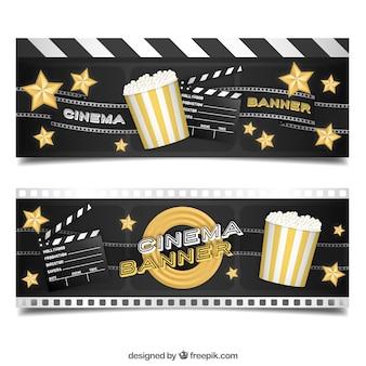 Cinéma noir bannières avec des détails dorés