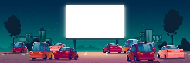Cinéma en plein air, cinéma drive-in avec des voitures