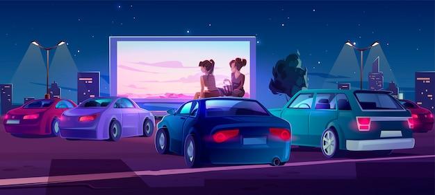 Cinéma en plein air, cinéma en plein air avec des voitures