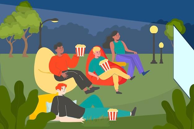 Cinéma en plein air design plat