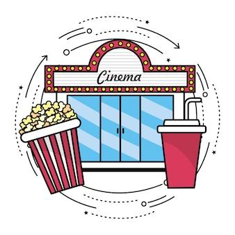 Cinéma avec pop-corn et collation de soda
