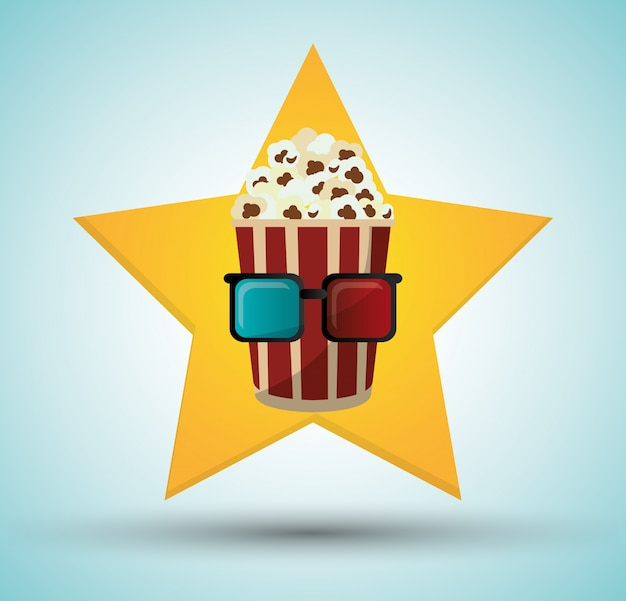 Cinéma pop maïs seau 3d lunettes étoile fond