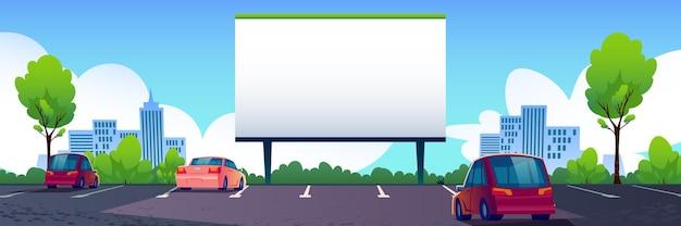 Cinéma de rue de voiture avec écran blanc