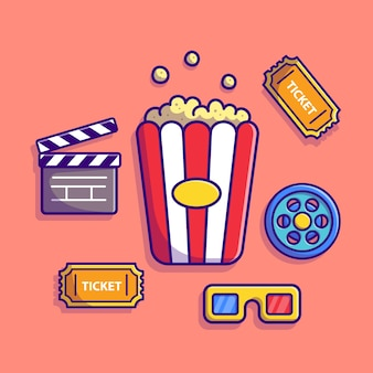 Cinéma set cartoon icon illustration. concept d'icône industrielle de personnes isolé. style de bande dessinée plat