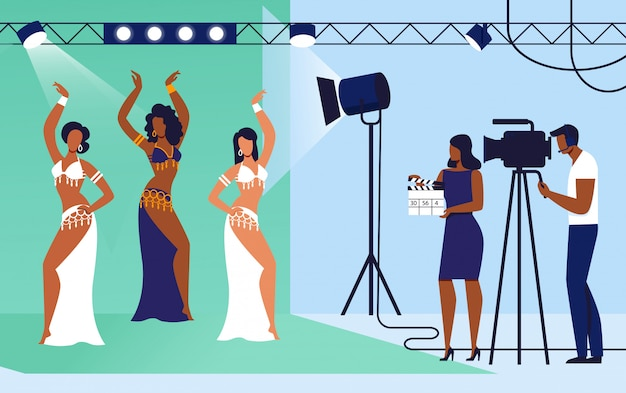 Cinéma, tournage de film set vector illustration