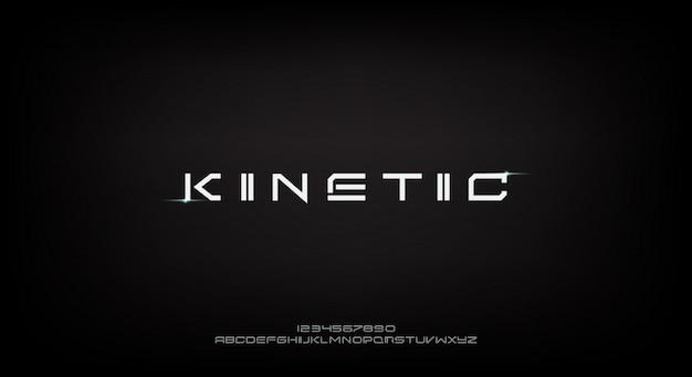 Cinétique, une police alphabet futuriste abstraite avec thème technologique. conception de typographie minimaliste moderne