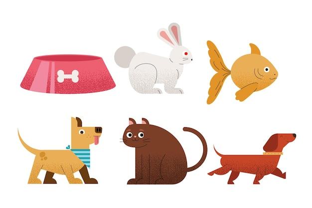 Cinq animaux domestiques mis icônes