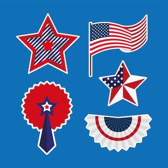 Cinq Autocollants Pour L'indépendance Des états-unis Vecteur Premium