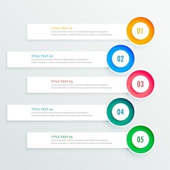 Cinq bannières circulaires infographiques