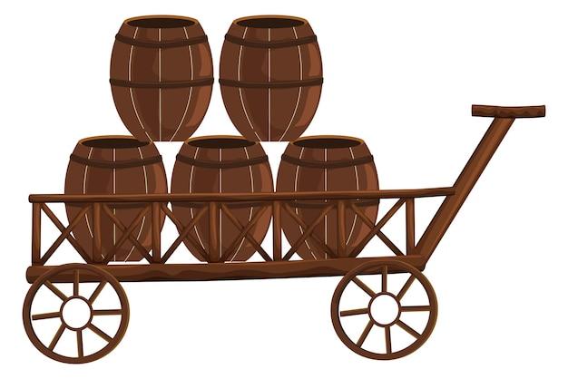 Cinq barils sur wagon en bois