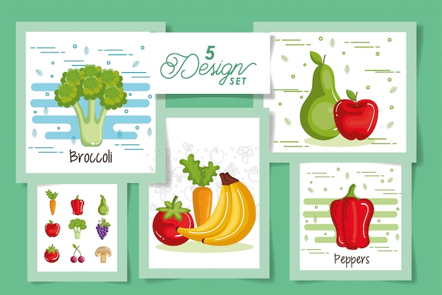 Cinq cartes de fruits et légumes