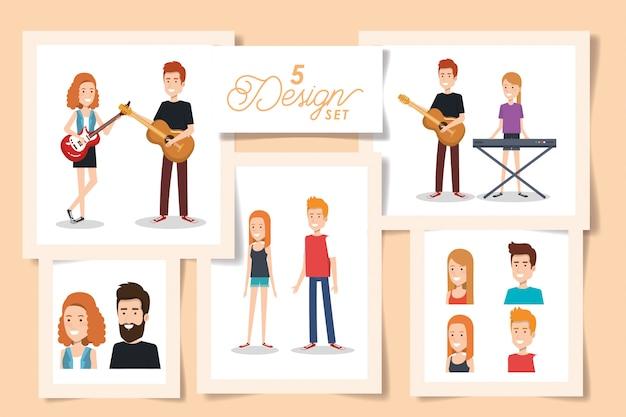 Cinq cartes de jeunes avec des instruments de musique
