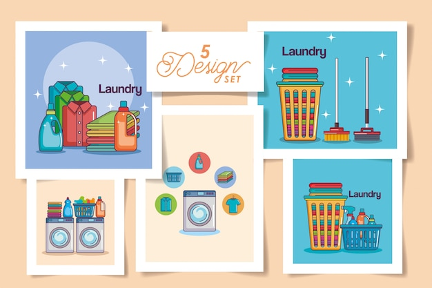 Cinq cartes de lessive
