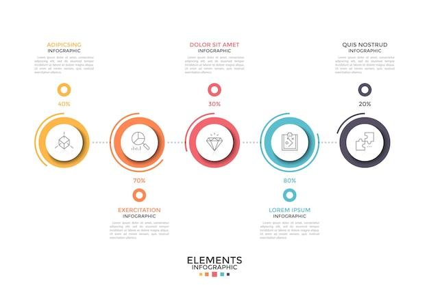 Cinq cercles colorés avec des pictogrammes de fine ligne à l'intérieur et une indication de pourcentage placée dans une rangée horizontale. concept de visualisation de données statistiques. modèle de conception infographique.