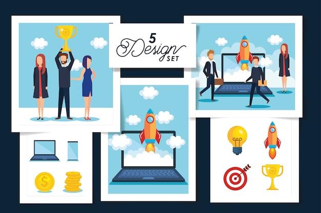 Cinq conceptions de scènes de gens d'affaires