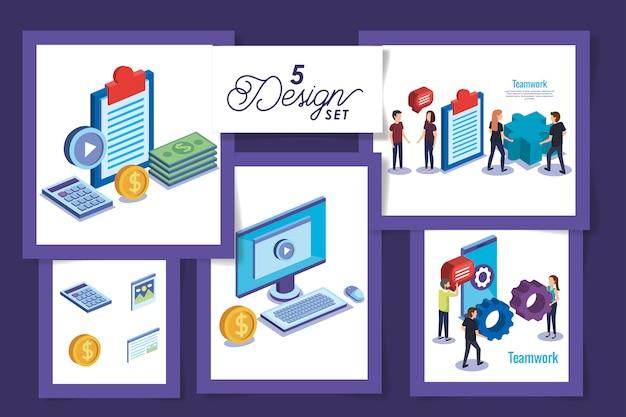 Cinq conceptions de travail d'équipe avec des personnes et des objets