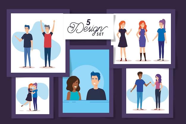Cinq dessins de personnages d'avatar de jeunes