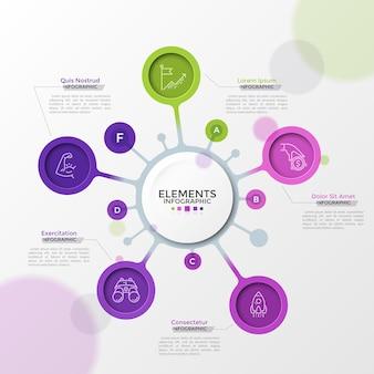 Cinq éléments circulaires colorés avec des pictogrammes linéaires à l'intérieur connectés au cercle principal. concept de carte mentale stratégique avec 5 options. modèle de conception infographique futuriste. illustration vectorielle.