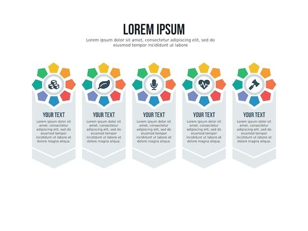 Cinq éléments d'infographie pentagonale et modèle de présentation
