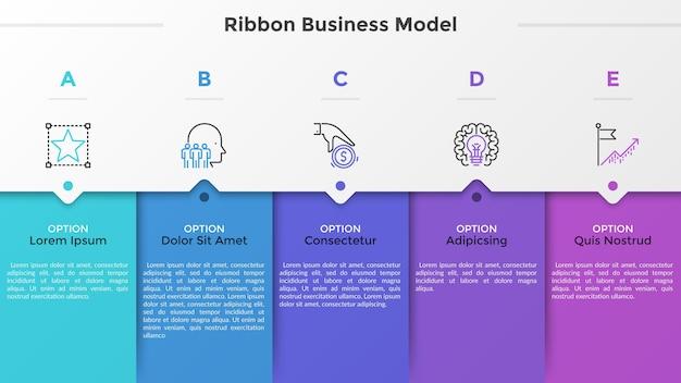 Cinq éléments rectangulaires colorés, pictogrammes de fine ligne, pointeurs et zones de texte. concept de modèle d'affaires de flèche avec 5 étapes successives. modèle de conception infographique moderne. illustration vectorielle.
